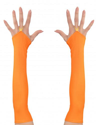 Lange fingerlose Handschuhe für Damen neonorange