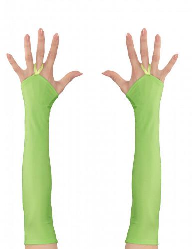 Lange fingerlose Handschuhe für Damen neongrün