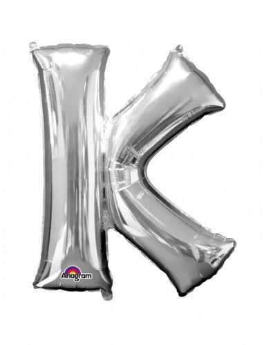 Riesen Folienballon Buchstabe K silber 66 x 83 cm