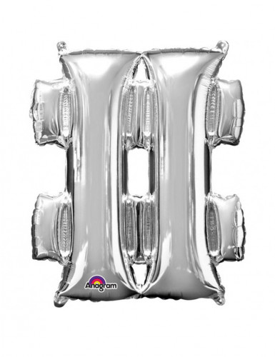Riesen Folienballon Symbol # silber 68 x 83 cm