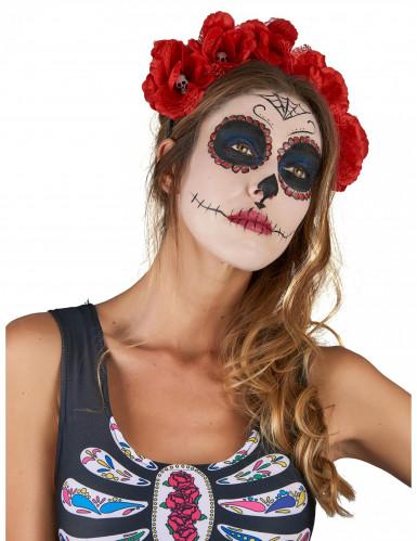 roter Haarreif Dia De Los Muertos für Erwachsene