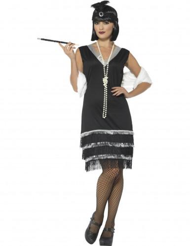 Kostüm Charleston 20 Jahre schwarz mit Stola Damen-1