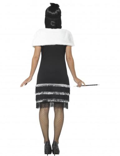 Kostüm Charleston 20 Jahre schwarz mit Stola Damen-3