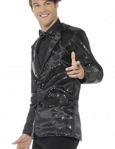 Disco-Jacke für Herren mit Pailletten in schwarz-1