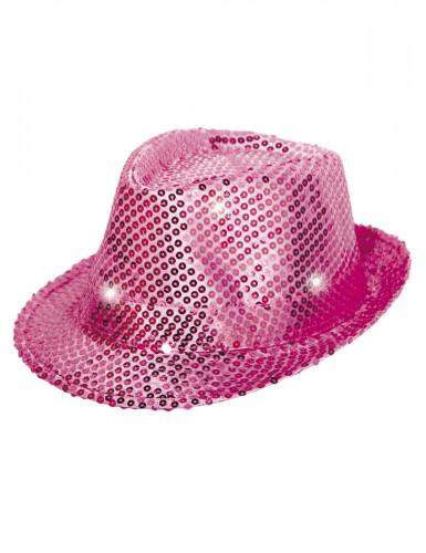 Hut Borsalino rosa mit LED Pailetten Erwachsene