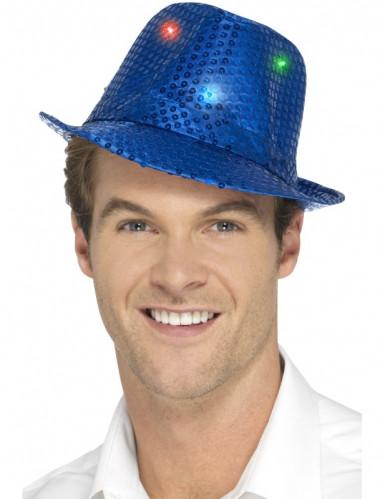 Hut Borsalino blauen Pailletten mit LED Erwachsene