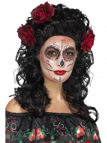Lange schwarze Perücke mit roten Rosen für Damen Dia de los Muertos