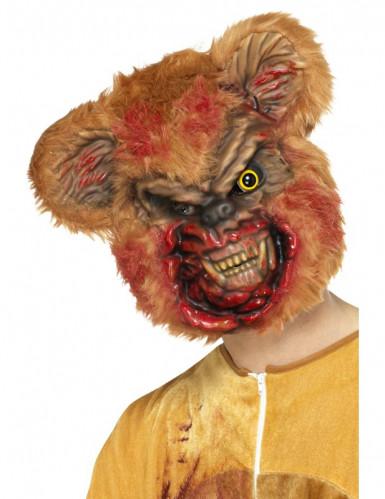 Psycho-Teddymaske für Erwachsene Halloween Kostümzubehör braun-schwarz
