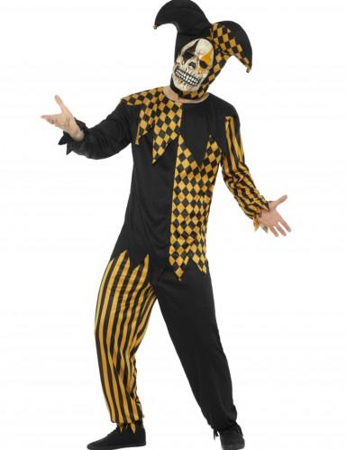 Teuflisches Clowskostüm für Herren gelb-schwarz