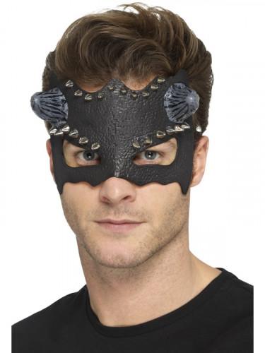 Maske schwarz verziert mit kleinen Hörnern Erwachsene Halloween