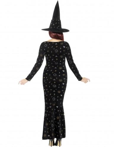 Magische Hexe Damenkostüm schwarz-gold-silber-1