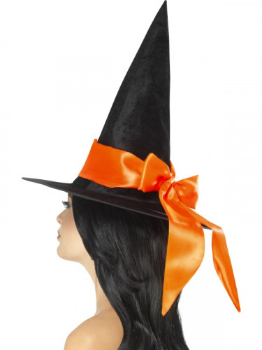 Schwarzer Hut mit oranger Schleife für Damen