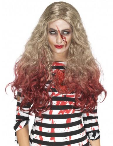 Blonde Perücke mit blutigen Strähnen für Damen
