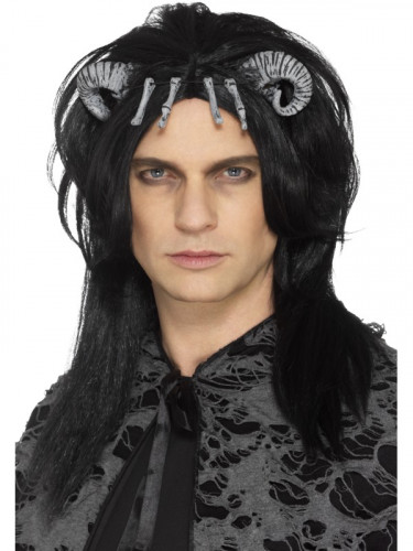Schwarze Perücke dämonische Kreatur Erwachsene Halloween