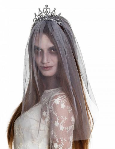 Diadem mit Schleier Zombiebraut Damen Halloween