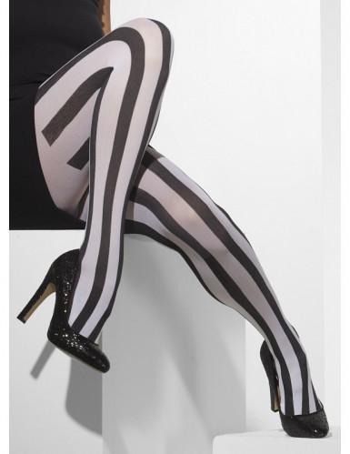 Schwarz weiß gestreifte Strumpfhosen Damen