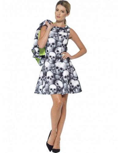 Sexy Kostüm im Totenkopf-Look für Damen schwarz-weiß-1