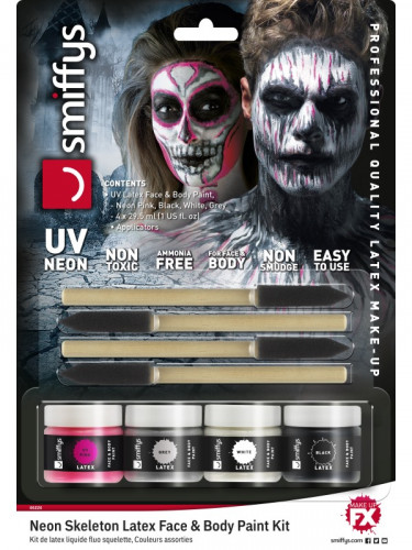 Formbares Latex Skelett Halloween Make-up bunt-2