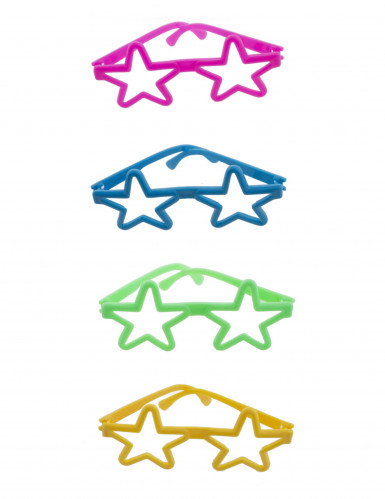 4 bunte Mini Brillen in Sternenform Neon