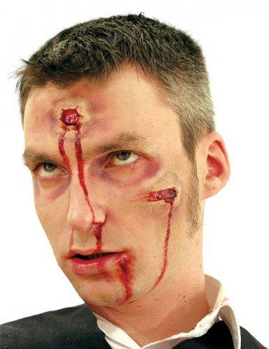 Künstliche Schusswunde aus Latex Halloween