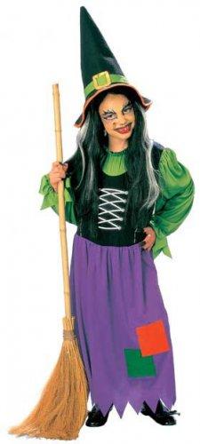 Hexen-Kostüm für Kinder grün-schwarz-lila