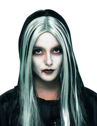 Dämonische Vampir-Perücke Halloween-Zubehör schwarz-blau-grau