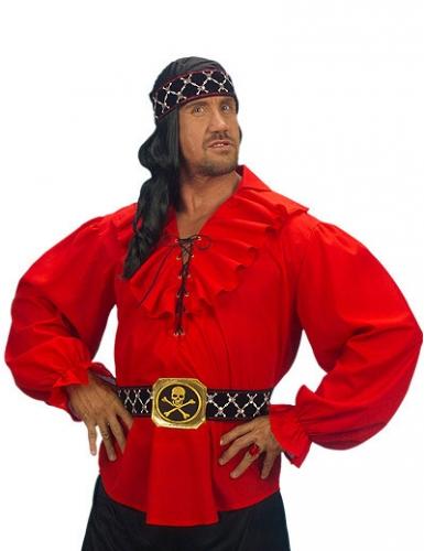 Rüschenhemd Piraten-Bluse Seeräuber rot