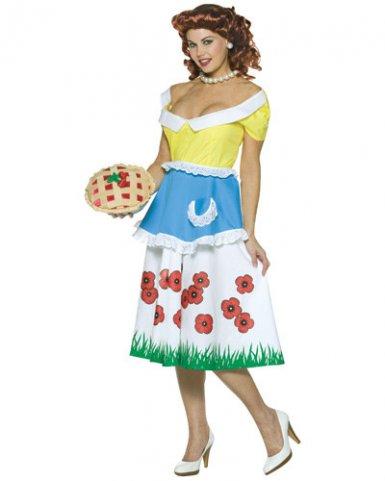 50er-Jahre-Kostüm Hausfrauen-Kostüm mit Kuchen bunt M / L 5PGNT360