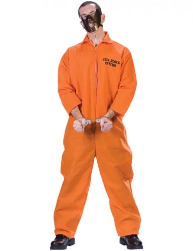 Psychopatisches Herrenkostüm Halloween-Sträfling orange