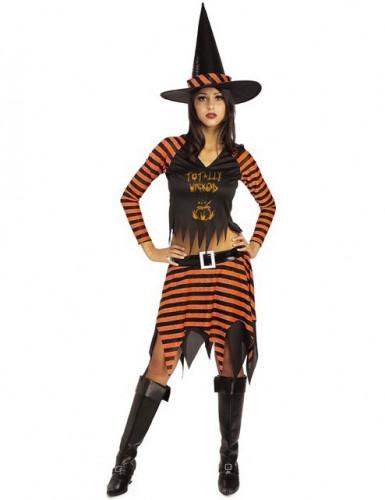 Verführerische Zauberin Hexen-Kostüm schwarz-orange