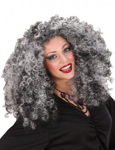 Damen-Perücke - Hexe - schwarz/grau
