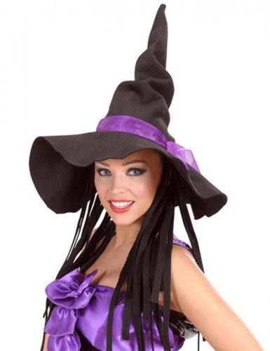 Hexenhut mit lila Band für Erwachsene Halloween