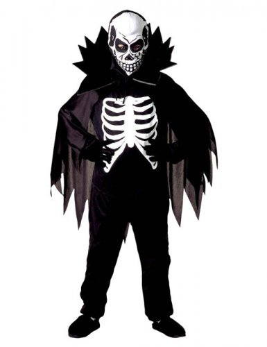 Schauriges Skelett-Kostüm für Kinder schwarz-weiß