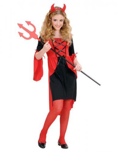Kinderkostüm Teufelin rot-schwarz