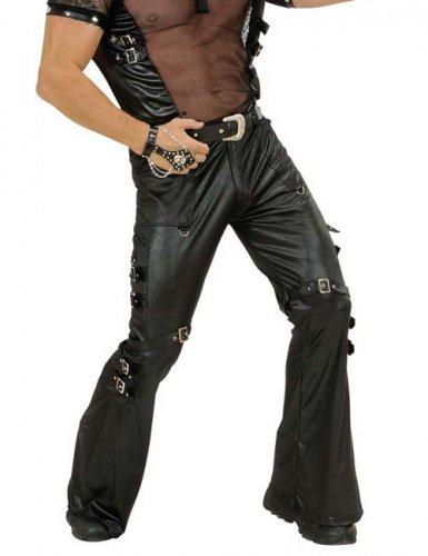 Rocker-Bikerhose mit Schnallen für Herren schwarz
