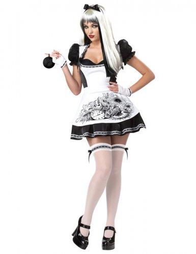 Alice Kostüm sexy schwarz und weiß Damen Halloween