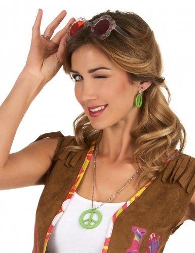Halskette und Ohrringe Hippie Erwachsene-1