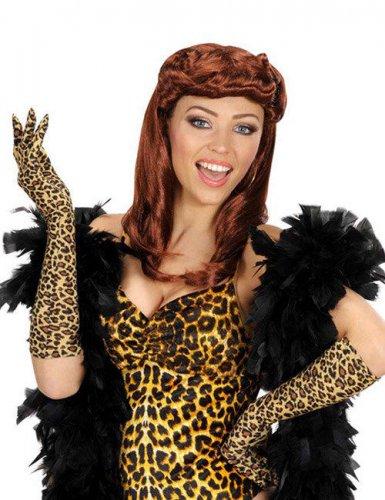Lange Leoparden-Handschuhe für Erwachsene