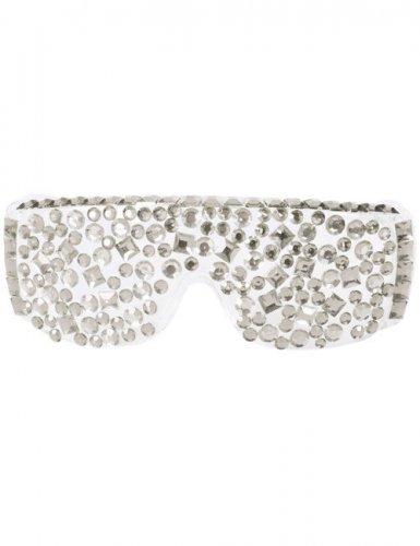 Disco-Brille mit Strasssteinen weiß-silber
