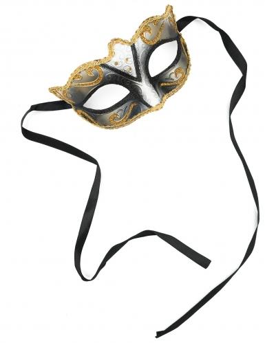 Venezianische Maske vergoldet und Glitzer Erwachsene-1