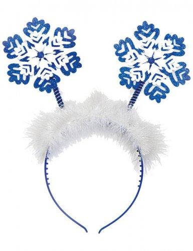 Haarreif mit Schneeflocken Weihnachten weiss-blau
