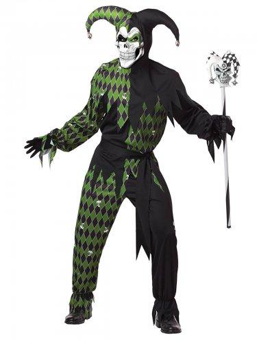 Teuflisches Harlekin-Kostüm für Herren in grün-schwarz