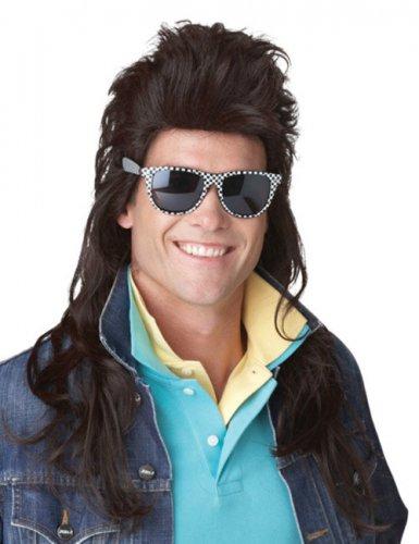 80er-Jahre Rockstar Perücke Langhaar Vokuhila braun