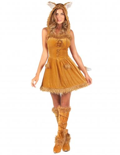Sexy Füchsin Kostüm für Damen mit Fell rotbraun
