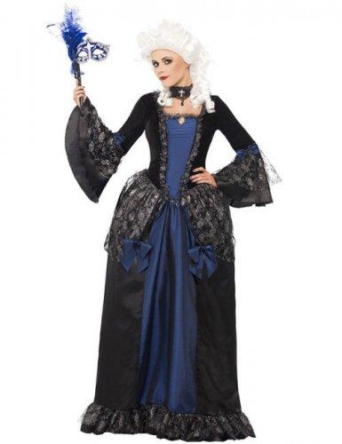 Edles Barock-Kleid für Damen Renaissance blau-schwarz ...