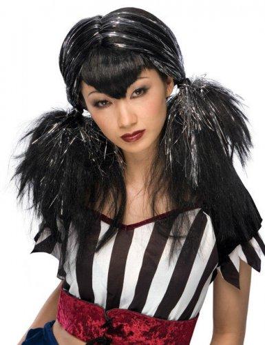 Gothic-Manga Perücke mit Zöpfen schwarz-silber