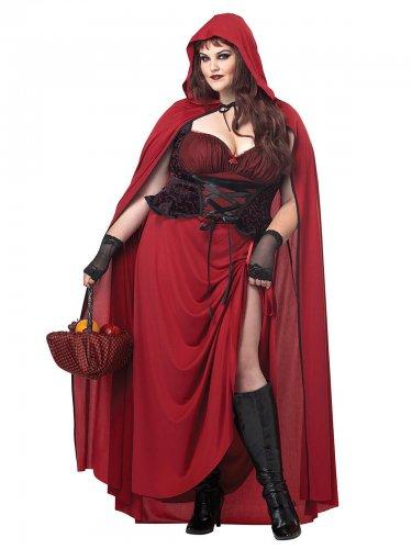 Halloween Damen-Kostüm Rotkäppchen rot-schwarz