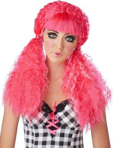 Horror Puppe-Perücke mit Zöpfe Kostümzubehör pink