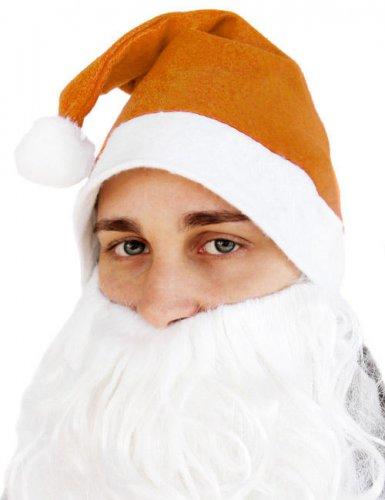 Weihnachtsmann Mütze für Erwachsene orange-weiß