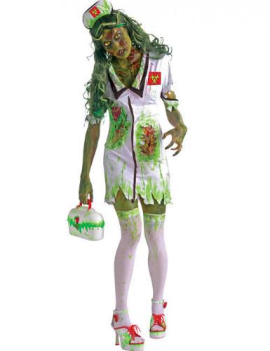 zombie krankenschwester halloween kost m f r damen gr n weiss kost me f r erwachsene und. Black Bedroom Furniture Sets. Home Design Ideas
